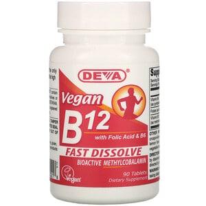 Deva, Vitamine B12 vegan avec acide folique et vitamine B6, 90 comprimés