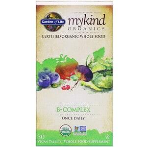 Garden of Life, MyKind Organics, Complexe de vitamines B, 30 comprimés vegans