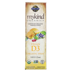 Garden of Life, MyKind Organics, Vegan D3 Organic Spray, Vanilla