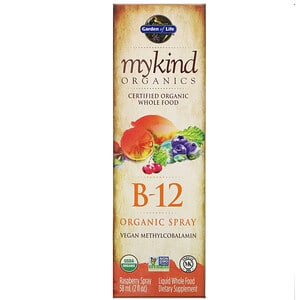 Garden of Life, MyKind Organics, Vitamine B-12 biologique en spray, Framboise, 60 ml